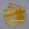 กระเป๋าถือ นารายา Size M ผ้าคอตตอน ลายทางเล็ก สีเหลือง สลับขาว ผูกโบว์ สีเหลือง สายหิ้ว หูเกลียว (กระเป๋านารายา กระเป๋าผ้า NaRaYa กระเป๋าแฟชั่น)