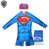 (สำหรับเด็กอายุ 6เดือน-14 ปี) ชุดว่ายน้ำเด็กผู้ชาย Superman สีน้ำเงิน บอดี้สูทเสื้อแขนยาวกางเกงขาสั้นสกรีนโลโก้ ซุปเปอร์แมน มาพร้อมหมวกว่ายน้ำและถุงผ้า สุดเท่ห์ ใส่สบาย ลิขสิทธิ์แท้