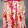 Pre-Order กระโปรงผ้าชีฟองพิมพ์ลายดอกไม้ สีชมพู กระโปรงทำงาน กระโปรงลำลอง กระโปรงยาว เดรสออกงาน