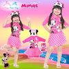 ( For Kids ) - Swimsuit for Girls ชุดว่ายน้ำ Disney Minnie Mouse บอดี้สูทเสื้อแขนยาว กระโปรงกางเกง เด็กผู้หญิง สีชมพู ชุดว่ายน้ำเด็กผู้หญิง ใส่สบาย ดิสนีย์แท้ ลิขสิทธิ์แท้