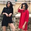 [Preorder] เสื้อคอโปโลตัวยาวสไตล์เรโทร มีสีดำ/แดง