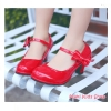 รองเท้าคัทชูเด็กมีส้นสีแดง รองเท็าแฟชั่นเด็ก