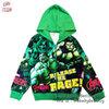 """"""" S-M-L-XL """" เสื้อแจ็คเก็ต เสื้อกันหนาว เด็กผู้ชาย สกรีนลาย Super Hero The Hulk สีเขียว รูดซิป มีหมวก(ฮู้ด)สกรีนหน้า The Hulk ใส่คลุมกันหนาว กันแดด สุดเท่ห์ ใส่สบาย ลิขสิทธิ์แท้ (ไซส์ S-M-L-XL )"""