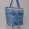 กระเป๋าสะพาย นารายา ผ้าคอตตอน พื้นสีฟ้า ลายข้าวหลามตัด ผูกโบว์ (กระเป๋านารายา กระเป๋าผ้า NaRaYa กระเป๋าแฟชั่น)
