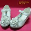 15D921 White รองเท้าเด็กผู้หญิง หนังแก้วสีขาว ส้นสูงปานกลาง ใส่ไป งานแต่งงาน งานเลี้ยง ไซส์31-36