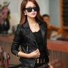 Pre-Order เสื้อแจ็คเก็ตหนัง เสื้อแจ็คเก็ตผู้หญิง เข้ารูปพอดีตัว คอปก สีดำ แต่งซิปเก๋ แฟชั่นเกาหลี