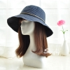 Pre-order หมวกยีนส์ปีกกว้างผูกโบว์เชือก แฟชั่นฤดูร้อน กันแดด กันแสงยูวี สีบลูยีนส์เข้ม