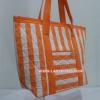 กระเป๋าสะพาย นารายา ผ้าคอตตอน ลายทาง สีส้ม สลับขาว มีช่อง ใส่โทรศัพท์ ด้านหน้า (กระเป๋านารายา กระเป๋าผ้า NaRaYa กระเป๋าแฟชั่น)