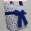 กระเป๋าสะพาย นารายา ผ้าคอตตอน พื้นสีขาว ลายช้างแม่-ลูก สีน้ำเงิน ผูกโบว์ (กระเป๋านารายา กระเป๋าผ้า NaRaYa กระเป๋าแฟชั่น)