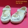 15F1249 White รองเท้าเด็กผู้หญิง หนังแก้วสีขาว ส้นเตี้ย ใส่ไปงาน แต่งงานเลี้ยง ไซส์26-30
