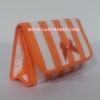 กระเป๋าเครื่องสำอางค์ นารายา ผ้าคอตตอน ลายทาง สีส้ม สลับขาว มีกระจกในตัว Size L (กระเป๋านารายา กระเป๋าผ้า NaRaYa)