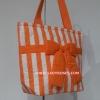 กระเป๋าสะพาย นารายา ผ้าคอตตอน ลายทาง สีส้ม สลับขาว ผูกโบว์ (กระเป๋านารายา กระเป๋าผ้า NaRaYa กระเป๋าแฟชั่น)