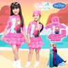 ( สำหรับเด็กอายุ 6เดือน-14 ปี ) Swimsuit for Girls ชุดว่ายน้ำ เด็กผู้หญิง Disney Frozen บอดี้สูทเสื้อแขนยาว กระโปรงกางเกงขาสั้น สีชมพู สกรีนลาย เจ้าหญิง อันนา เอลซ่า มาพร้อมหมวกว่ายน้ำและถุงผ้า สุดน่ารัก ใส่สบาย ดิสนีย์แท้ ลิขสิทธิ์แท้