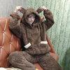 [พร้อมส่ง] ชุดนอนเสื้อขนสัตว์มีฮูดหมี+กางเกง มีสีน้ำตาล/ครีม