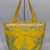 กระเป๋าเดินทาง นารายา ผ้าคอตตอน Size L สีเหลือง ลายหยดน้ำ ผูกโบว์ด้านหน้า ใส่ของได้เยอะ (กระเป๋านารายา กระเป๋าผ้า NaRaYa กระเป๋าแฟชั่น)