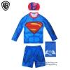 ( สำหรับเด็กอายุ 6เดือน-14 ปี) ชุดว่ายน้ำเด็กผู้ชาย Superman มาพร้อมกับเสื้อแขนยาวสกรีนโลโก้ ซุปเปอร์แมน กางเกงขาสั้น สีน้ำเงิน มาพร้อมหมวกว่ายน้ำและถุงผ้า สุดเท่ห์ ใส่สบาย ลิขสิทธิ์แท้