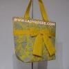 กระเป๋าสะพาย นารายา ผ้าคอตตอน สีเหลือง ลายหยดน้ำ ผูกโบว์ (กระเป๋านารายา กระเป๋าผ้า NaRaYa กระเป๋าแฟชั่น)