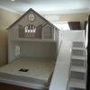 เตียง 2 ชั้น ทรงบ้าน พร้อมขั้นบันไดแบบลิ้นชักเก็บของ+สไลเดอร์