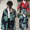 [Preorder] เสื้อเชิร์ตแขนยาวลายใบไม้ ใส่เป็นเสื้อคลุมได้ มีสีเขียว/แดง