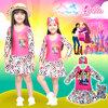 ( สำหรับเด็กอายุ 6เดือน-14 ปี ) Swimsuit for Girls ชุดว่ายน้ำ เด็กผู้หญิง Barbie สีชมพู-ขาว บอดี้สูทเสื้อแขนยาว กระโปรง มาพร้อมหมวกว่ายน้ำ สุดน่ารัก ใส่สบาย ลิขสิทธิ์แท้