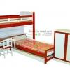 เตียงนอน 3 ชั้น พร้อมโต๊ะ + เก้าอี้ และตู้เสื้อผ้า