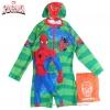 ฮ Size L - ชุดว่ายน้ำเด็กผู้ชาย Spiderman สีเขียว บอดี้สูทเสื้อแขนยาวกางเกงขาสั้น สกรีนลาย Spiderman มาพร้อมหมวกว่ายน้ำ สุดเท่ห์ ใส่สบาย ลิขสิทธิ์แท้ (สำหรับเด็กอายุ 7-8 ปี)