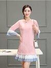 เดรสแฟชั่นเกาหลี ตัดต่อชายกระโปรงและแขนผ้าชีฟองอีดพรีทเก๋ๆ สีชมพูนู้ด