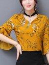 KTFN เสื้อแฟชั่นผ้าชีฟองเกาหลี พิมพ์ลาย คอวีเก๋ๆสามารถใส่ได้ทั้ง2ด้าน สีเหลือง