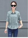 KTFN เสื้อแฟชั่นเกาหลี กระดุมหน้ามีกระเป๋าหน้าอก เอวรูปปรับได้ สีเขียวนมลายริ้ว