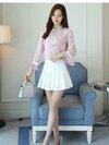 KTFN เสื้อแฟชั่นเกาหลี ผ้าชีฟองเนื้อหนา ตัดต่อแขนแตรอัดพรีท สายผูกโบว์ที่คอ ปลายสายมีไข่มุกสวยๆ สีชมพู