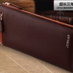 พรีออเดอร์ กระเป๋าสตางค์ กระเป๋าคลัทช์สำหรับผู้ชาย แฟชั่นกระเป๋าสไตล์อิตาลี หนังแท้ หนังนิ่ม สีแดง