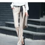 (Pre-Order) กางเกงผู้หญิงทำงาน กางเกงขายาว กางเกงทรงกระบอกตรง สำหรับสาวต้นขาใหญ่ สีเบจกับสีดำ