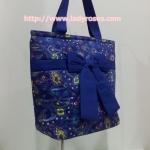 กระเป๋าสะพาย นารายา ผ้าคอตตอน สีน้ำเงิน ลายหยดน้ำ ผูกโบว์ (กระเป๋านารายา กระเป๋าผ้า NaRaYa กระเป๋าแฟชั่น)