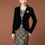 พรีออเดอร์ Sale 13% เสื้อสูทผู้หญิง แขนยาว ผ้ากำมะหยี่ สีดำ