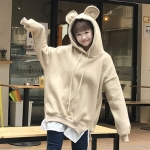 [พร้อมส่ง] เสื้อกันหนาวมีฮูดหมี สีครีม