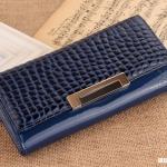 กระเป๋าสตางค์ กระเป๋าถือผู้หญิง กระเป๋าบัตร กระเป๋าหนังแท้ หนังนิ่ม แฟชั่นกระเป๋าถือสไตล์เกาหลี สีน้ำเงิน