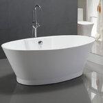 อ่างอาบน้ำตั้งพื้นทรงรี (ยกฐาน) ขนาด 1.7 เมตร อ่างสปา อ่างแช่ตัว อ่างอาบน้ำอะคริลิค สุขภัณฑ์ เครื่องสุขภัณฑ์ อ่างอาบน้ำราคาถูก แบบห้องน้ำสวยๆ 1.7M Luxury Modern Contemporary Freestanding Acrylic Soaking Spa Bathtub (B12)