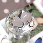 ต่างหูหินโรสควอซ (Rose Quartz) รูปหัวใจ