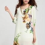 (Pre-Order) เดรสผ้าชีฟอง แขนยาว มีซับใน ลายดอกโบตั๋น พื้นสีขาว งานน่ารักมาก อารมณ์หวาน แฟชั่นสไตล์เกาหลี