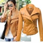 พรีออเดอร์ เสื้อแจ็คเก็ตหนัง เสื้อแจ็คเก็ตผู้หญิง เข้ารูปพอดีตัว คอปก สีคัสตาร์ด แต่งซิปเก๋ แฟชั่นเกาหลี