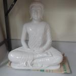 พระพุทธรูปปางสมาธิ หน้าตัก19นิ้ว แกะสลักจากหินอ่อนขาว