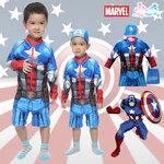 """""""( For Kids ) Swimsuit for Boys ชุดว่ายน้ำ เด็กผู้ชาย Captain America ชุดว่ายน้ำ บอดี้สูท เสื้อแขนยาวกางเกงขาสั้นซิบหน้า สีน้ำเงิน สกรีนลายชุด Captain America เสมือนจริง มาพร้อมหมวกว่ายน้ำและถุงผ้า สุดเท่ห์ ใส่สบาย ลิขสิทธิ์แท้"""
