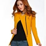 Pre-Order เสื้อสูททำงาน เสื้อสูทผู้หญิง สูทลำลอง แขนยาว แฟชั่นชุดทำงานสไตล์เกาหลี สีเหลืองคัสตาร์ด