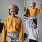 [พร้อมส่ง] เสื้อแขนค้างคาวคอกลม มีสีเหลือง/ขาว