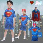 """""""( For Kids ) Swimsuit for Boys Superman แยกชิ้น เสื้อแขนสั้น + กางเกง ขาสั้น ลายซุปเปอร์แมน สีน้ำเงิน มาพร้อมหมวกว่ายน้ำและถุงผ้า สุดเท่ห์ ใส่สบาย ลิขสิทธิ์แท้"""