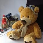 ตุ๊กตาหมีสีน้ำตาล ใส่หมวก size XL