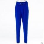 Pre order กางเกงทำงาน กางเกงลำลอง กางเกงฮาเร็ม จับจีบด้านหน้า กางเกงแฟชั่นเกาหลี สีน้ำเงิน