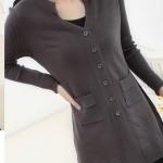 (Pre-Order) เสื้อไหมพรมถักจากผ้าขนสัตว์แคชเมียร์ แฟชั่นเสื้อสไตล์เกาหลี สีดำ-น้ำตาล