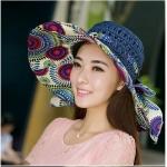Pre-order หมวกปีกกว้างแฟชั่นฤดูร้อน กันแดด กันแสงยูวี สวยหวานเรียบหรู ดูดี สีน้ำเงินลายม่วง