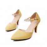 พรีออเดอร์ รองเท้าแฟชั่นผู้หญิง ส้นสูง หัวแหลม หนังแท้ สีเหลือง Brand: Xuan Hong Mi เสื้อผ้าแฟชั่นสไตล์เรโทร
